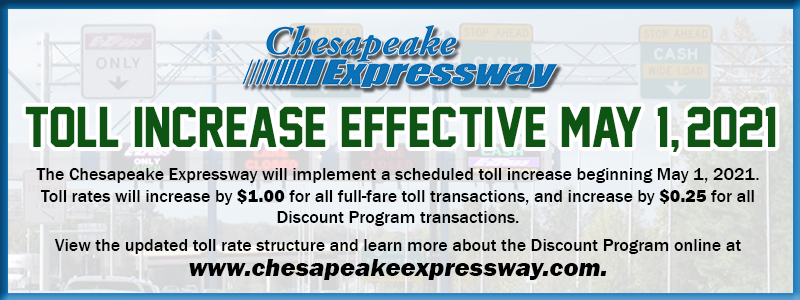 Toll Increase Effective May 1 2021